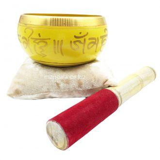 Sino Tigela Tibetana Orin Artesanal 7 Ligas de Metais 10,5cm + Almofada