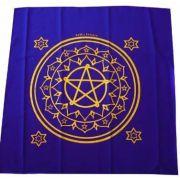 Toalha Para Tarô Mandala Esotérica Azul e Amarela