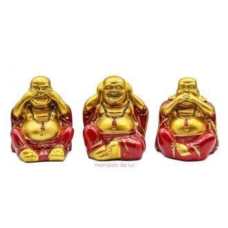 Trio de Estátuas Buda Sábios Cego, Surdo e Mudo Pequeno 9cm
