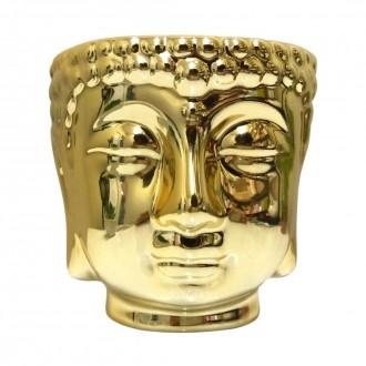 Vaso Cachepot Cabeça de Buda Dourado Porcelana 10cm
