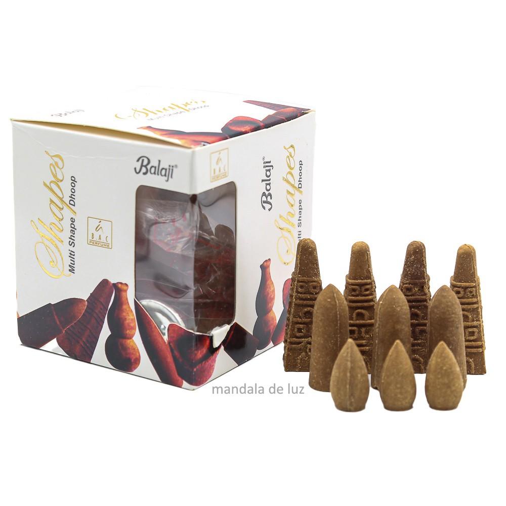50 incensos - Cone Cascata Backflow Shapes Massala Balaji