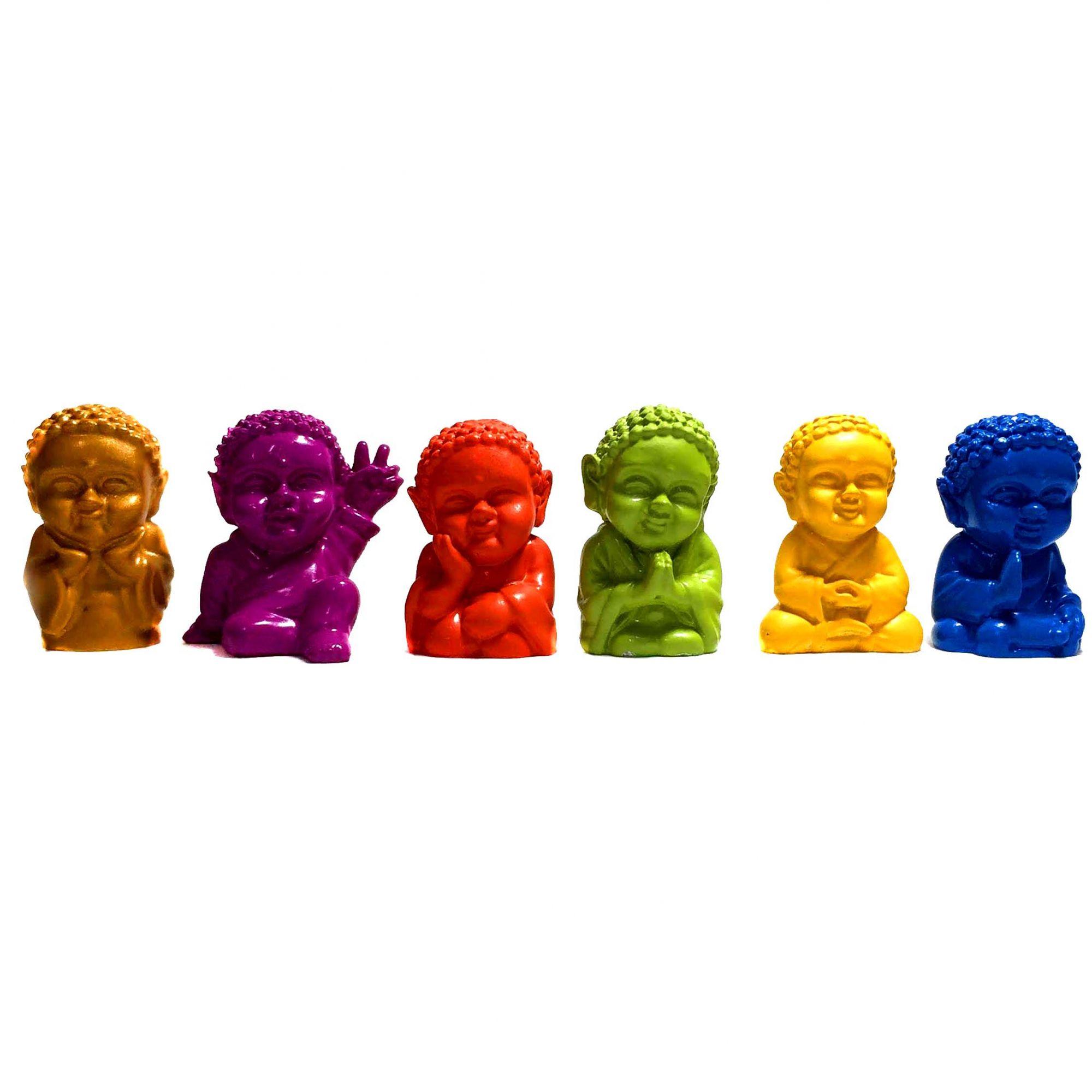 6 Estátuas de Mini Monges Buda Baby Coloridos 3,5cm