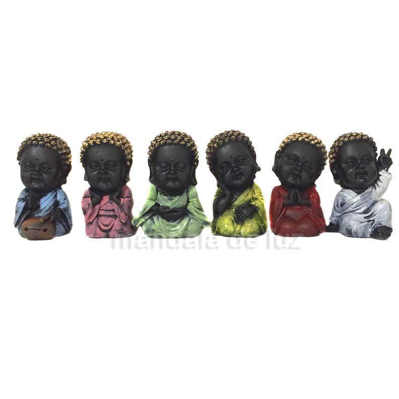 6 Estátuas de Mini Monges Buda Baby Preto 9,5cm - 366