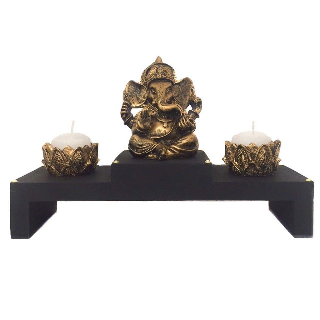 Altar com Castiçal e Incensário Estátua de Ganesha Dourado 15cm