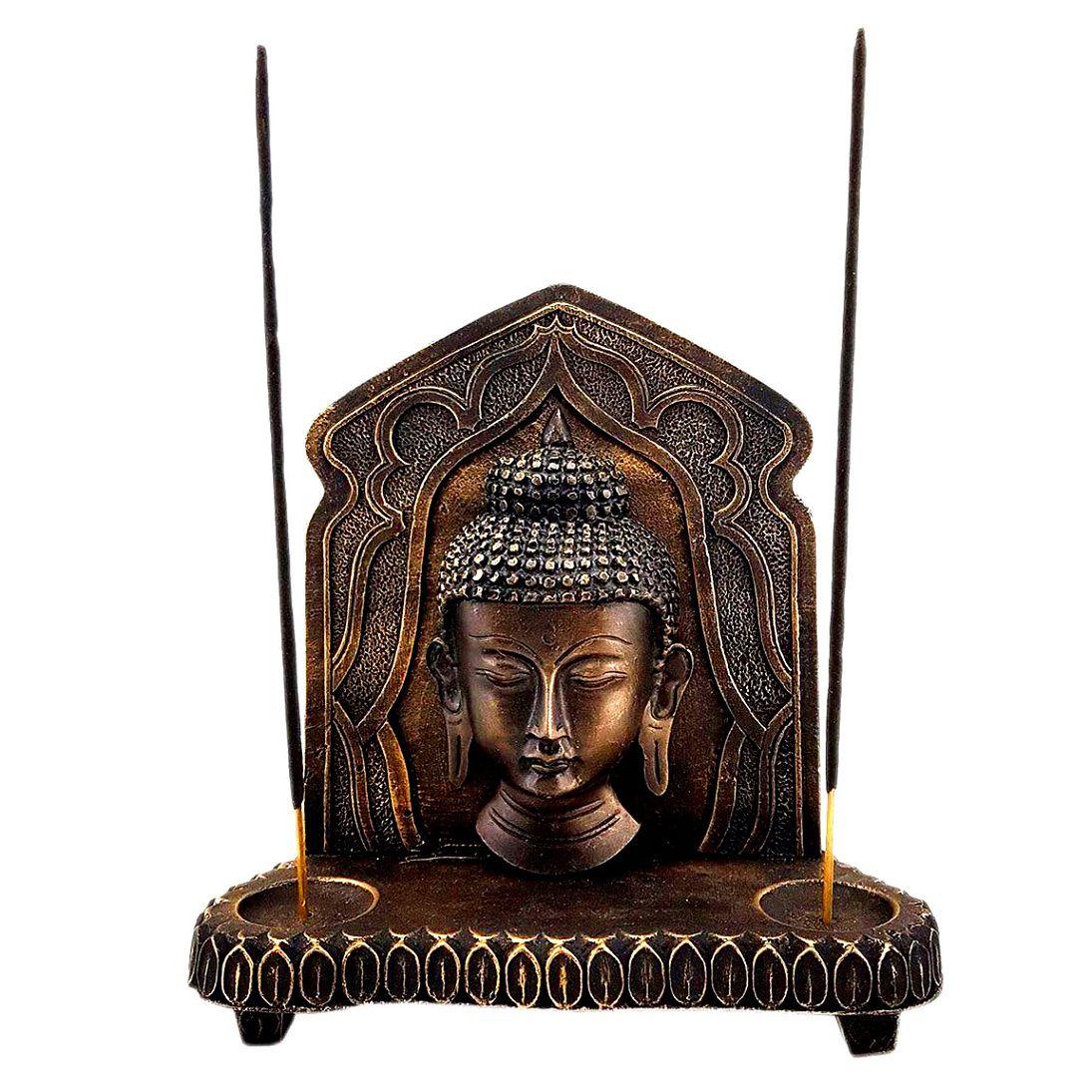 Altar de Estátua de Buda Castiçal e Incensário Aparador 21cm
