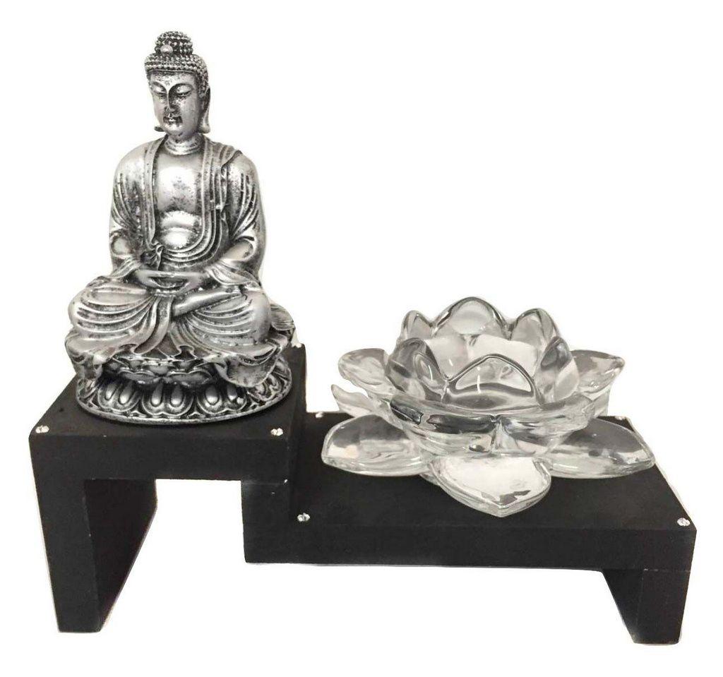 Altar Estátua de Buda Prateado Castiçal Flor de Lótus Vidro 18cm