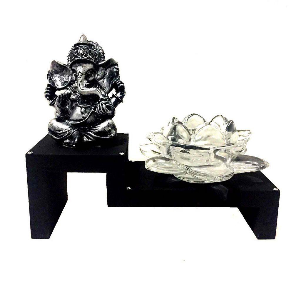 Altar Estátua de Ganesha Prateado Castiçal Flor de Lótus Vidro