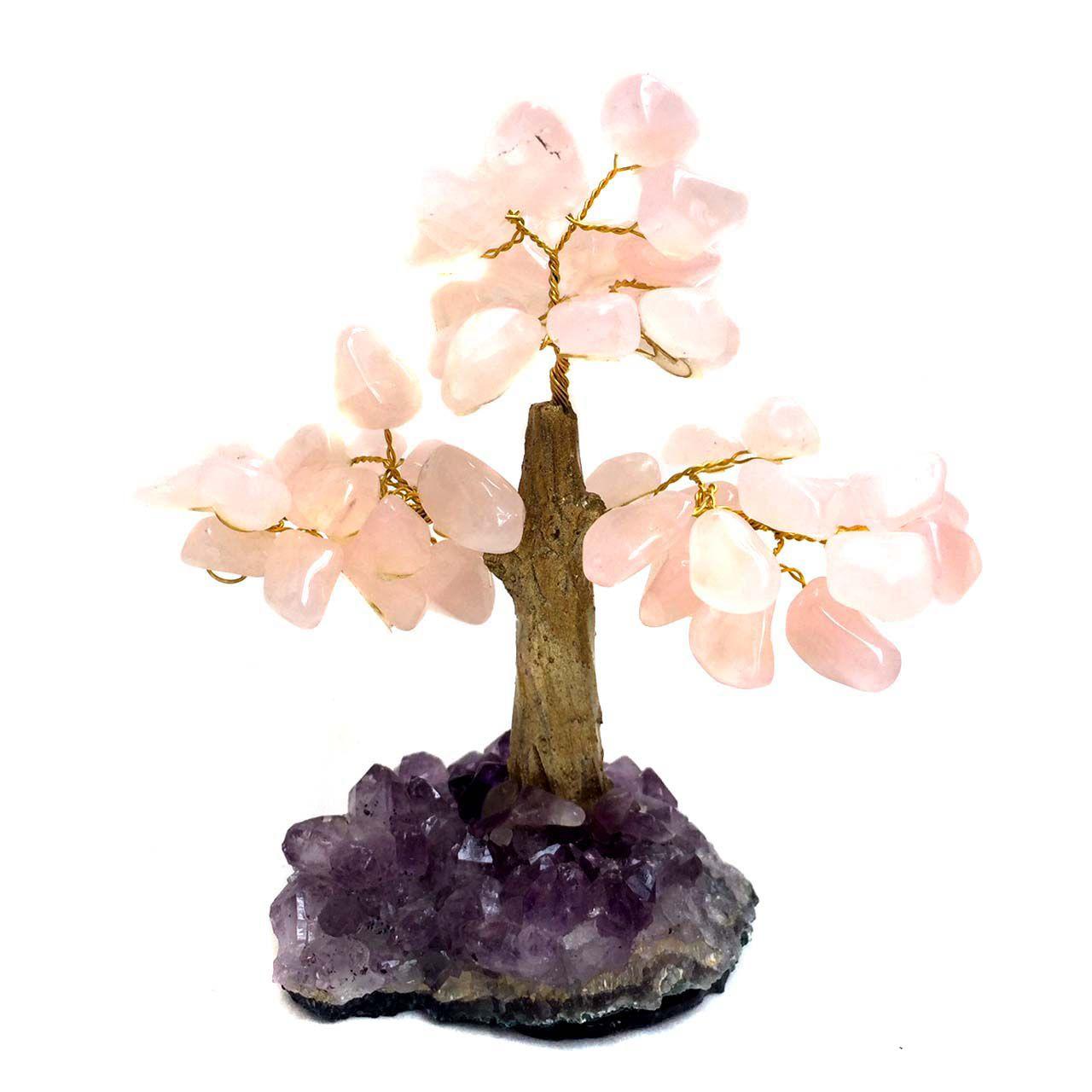 Árvore Cristais Naturais Quartzo Rosa e Ametista 12cm