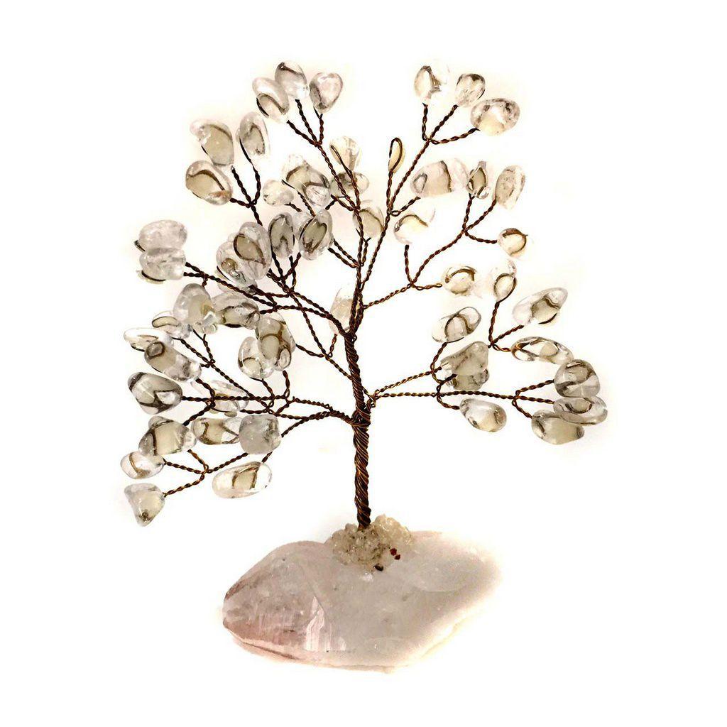 Árvore da Felicidade de Cristais Pedras Transparentes 15,5cm