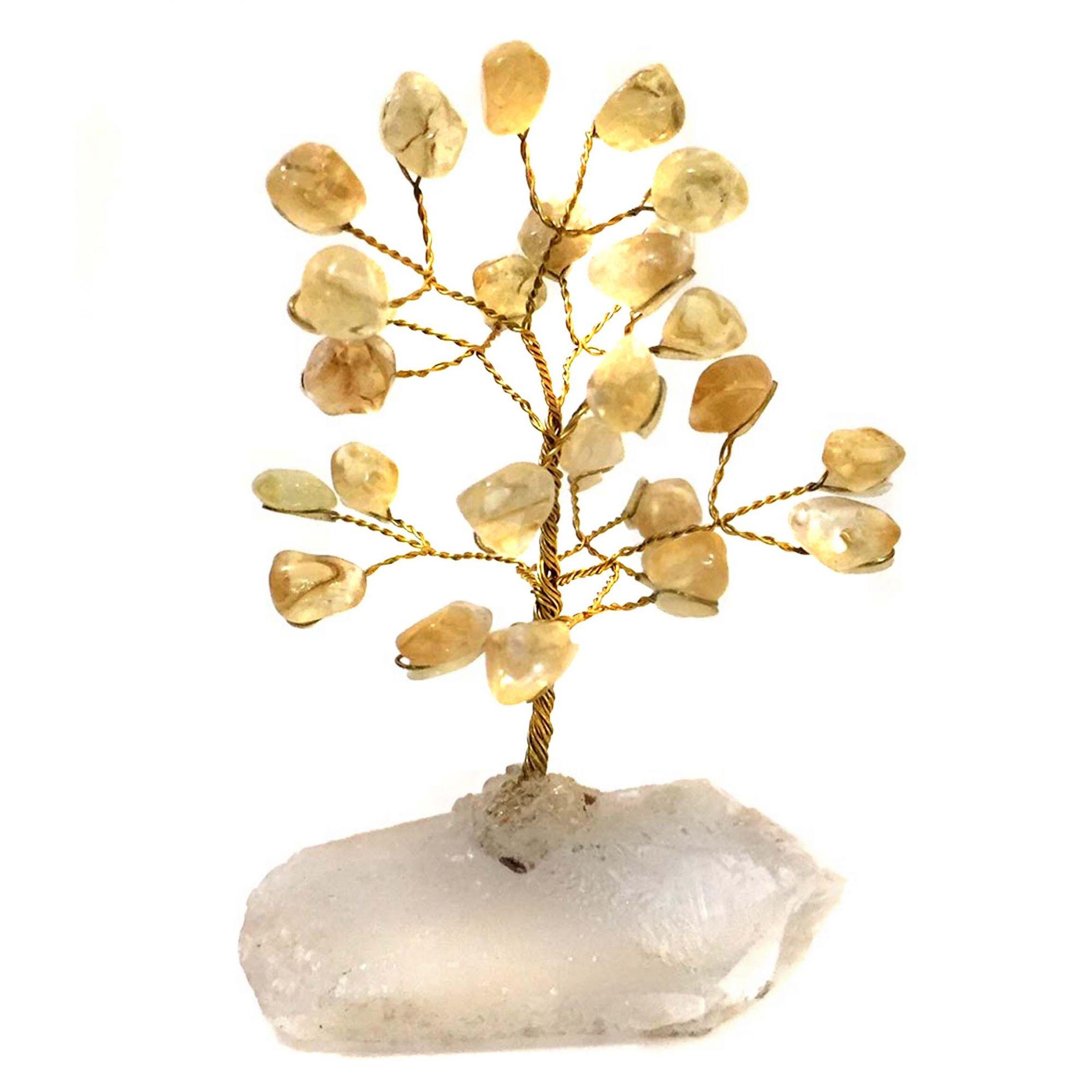Árvore da Felicidade de Pedras Cristais Citrino 10cm
