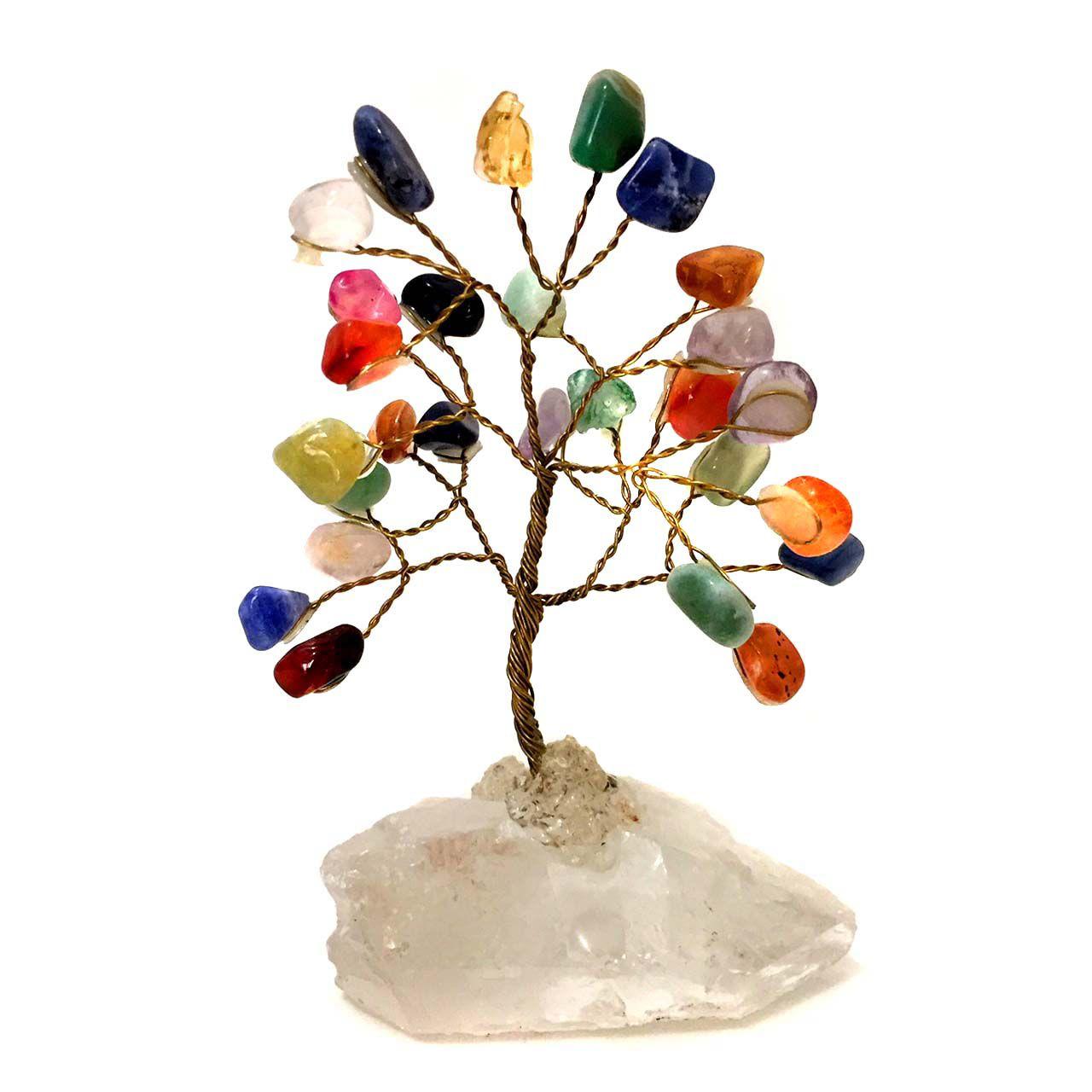Árvore da Felicidade de Pedras Cristais Misto 10cm