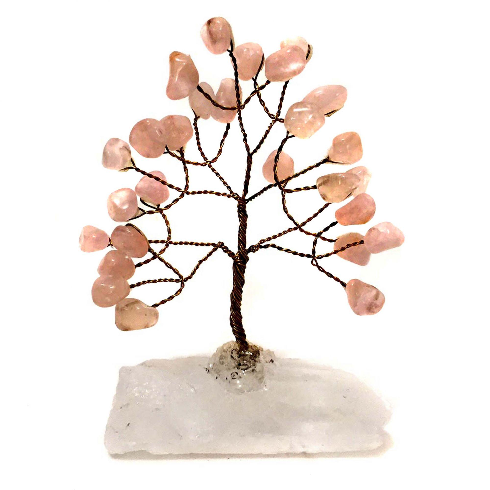 Árvore da Felicidade de Pedras Cristais Quartzo Rosa 10cm