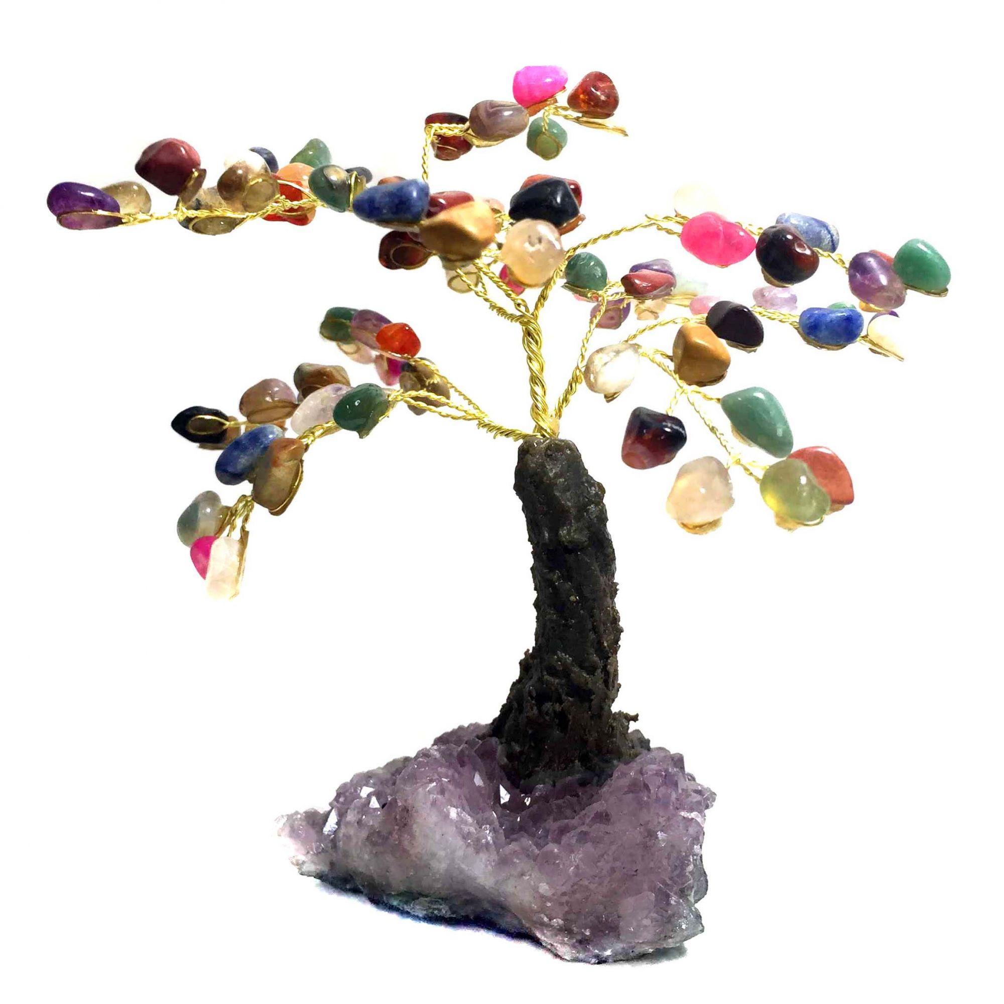 Árvore da Felicidade Pedras Cristais Mistos e Base de Ametista 15cm