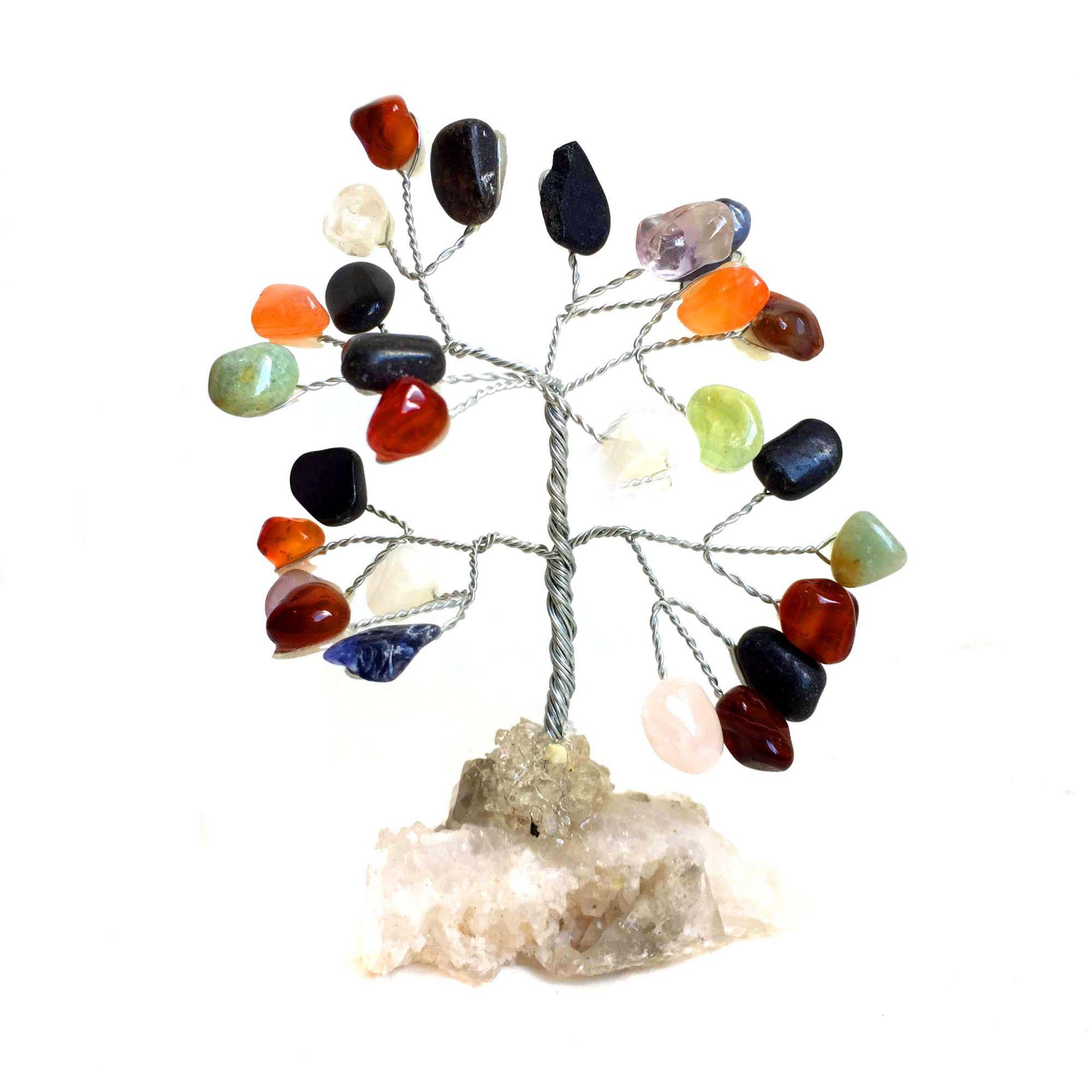 Árvore de Pedra Cristais Mistos Prateada 10cm