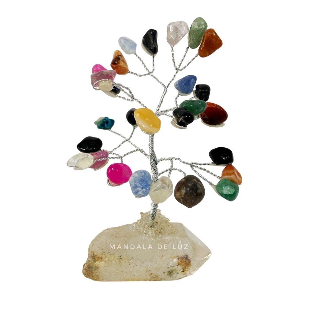 Árvore de Pedra Cristais Mistos com base de Quartzo 10cm