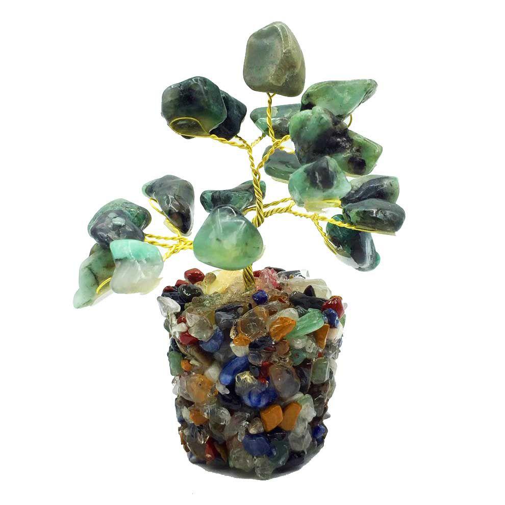 Árvore de Pedras Esmeralda Cristal Natural  8cm