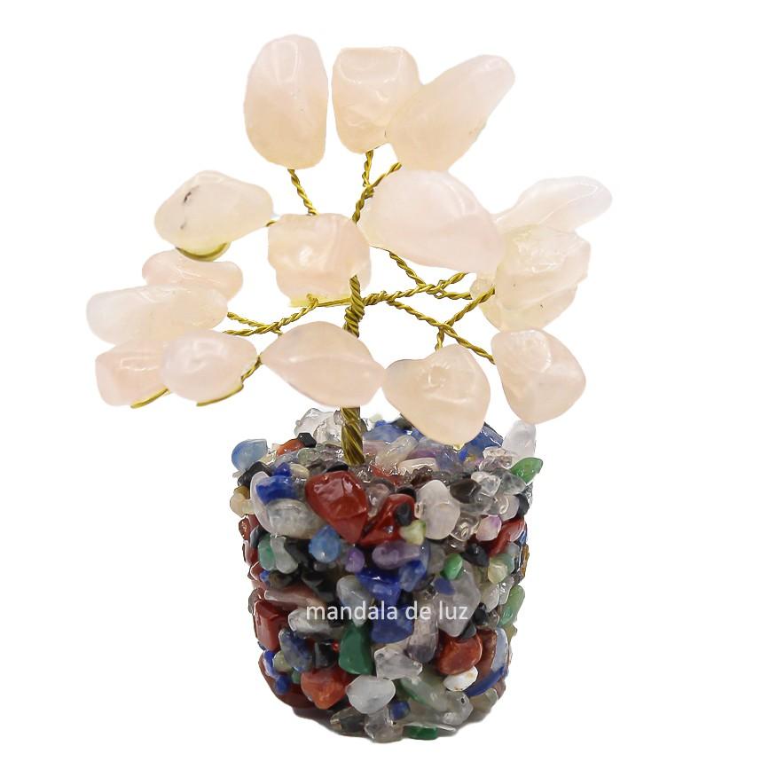 Árvore de Pedras Quartzo Rosa Cristal Natural 8cm