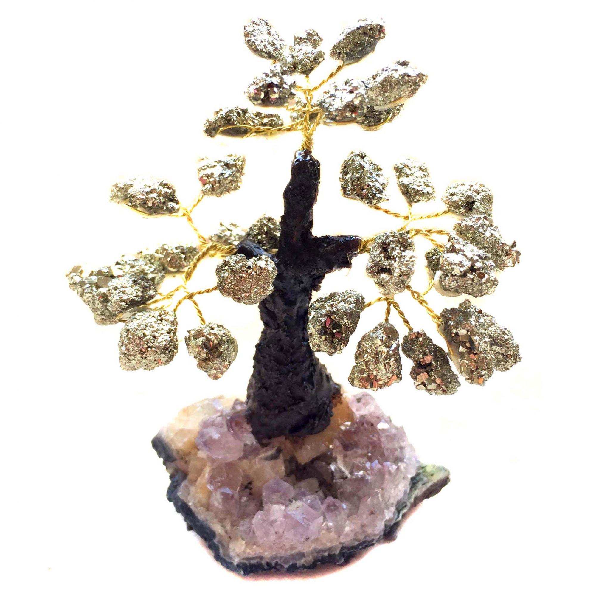 Árvore Pedras Naturais Base de Ametista e Folhas de Pirita 10cm