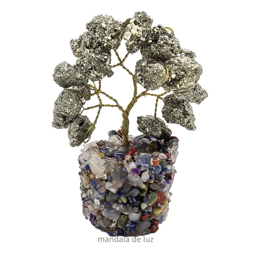 Árvore Pedras de Pirita Bruta com base Mista 8cm