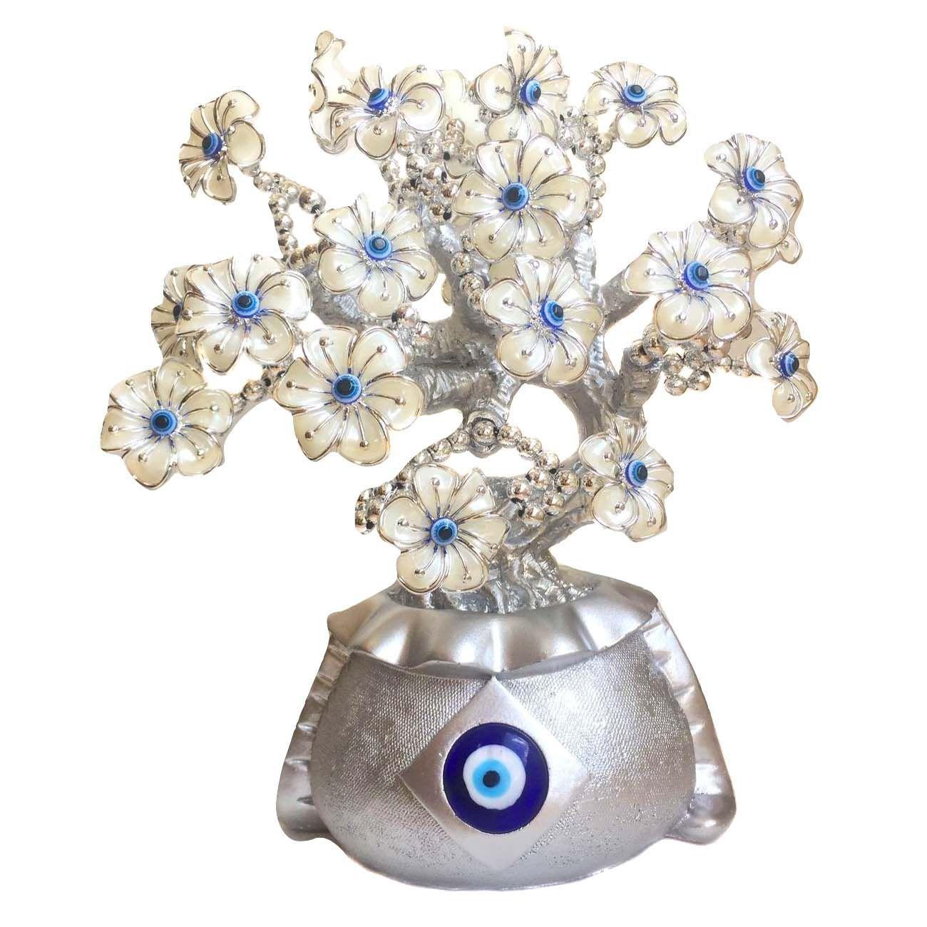 Árvore Prateada Flor de Olho Grego 25cm