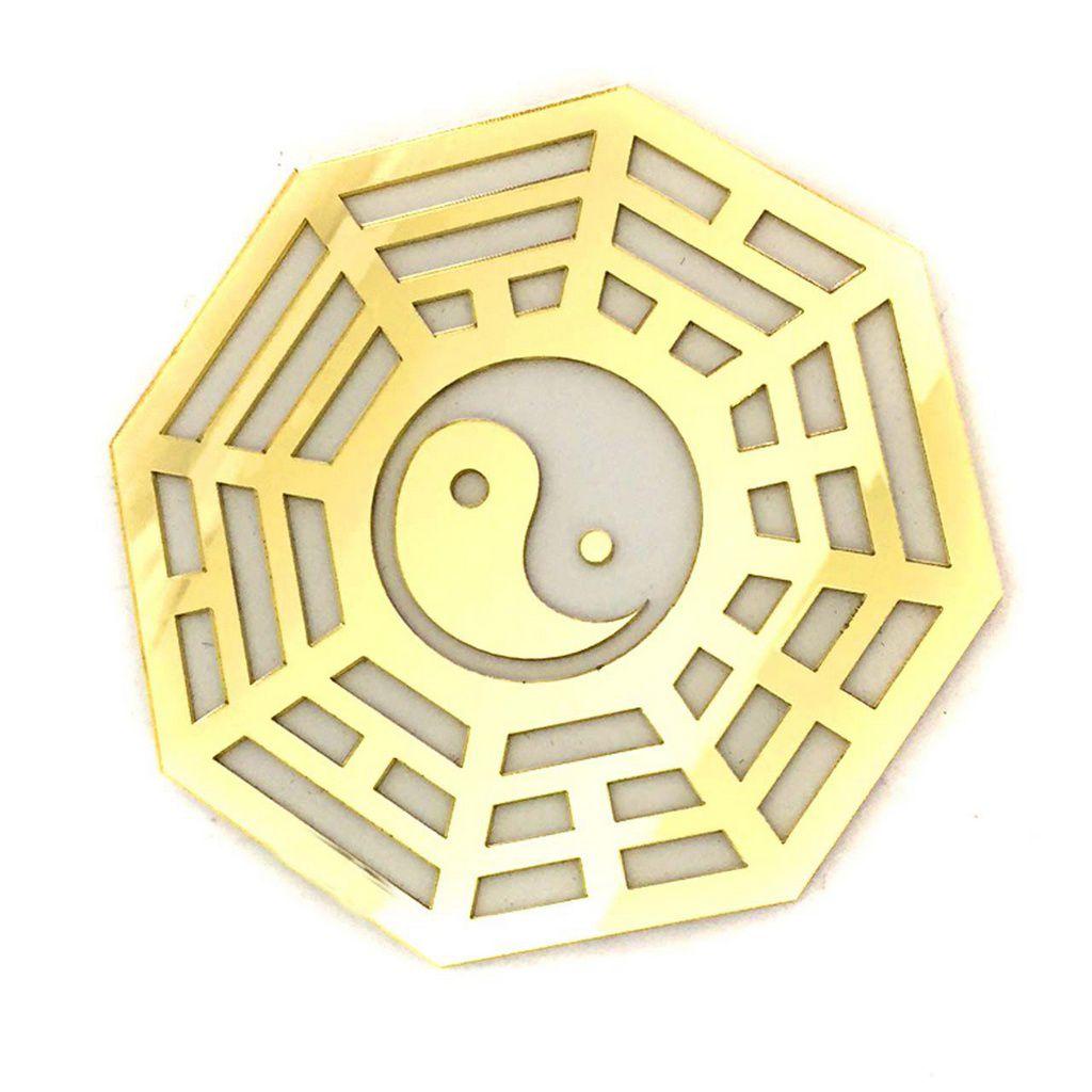 Baguá Yin Yang Acrílico Espelhado Dourado Branco 11,5cm