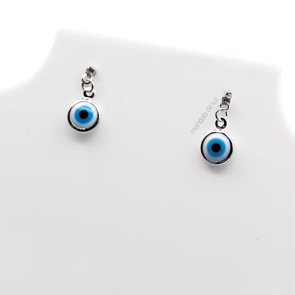 Brinco Olho Grego Branco e Azul Prateado