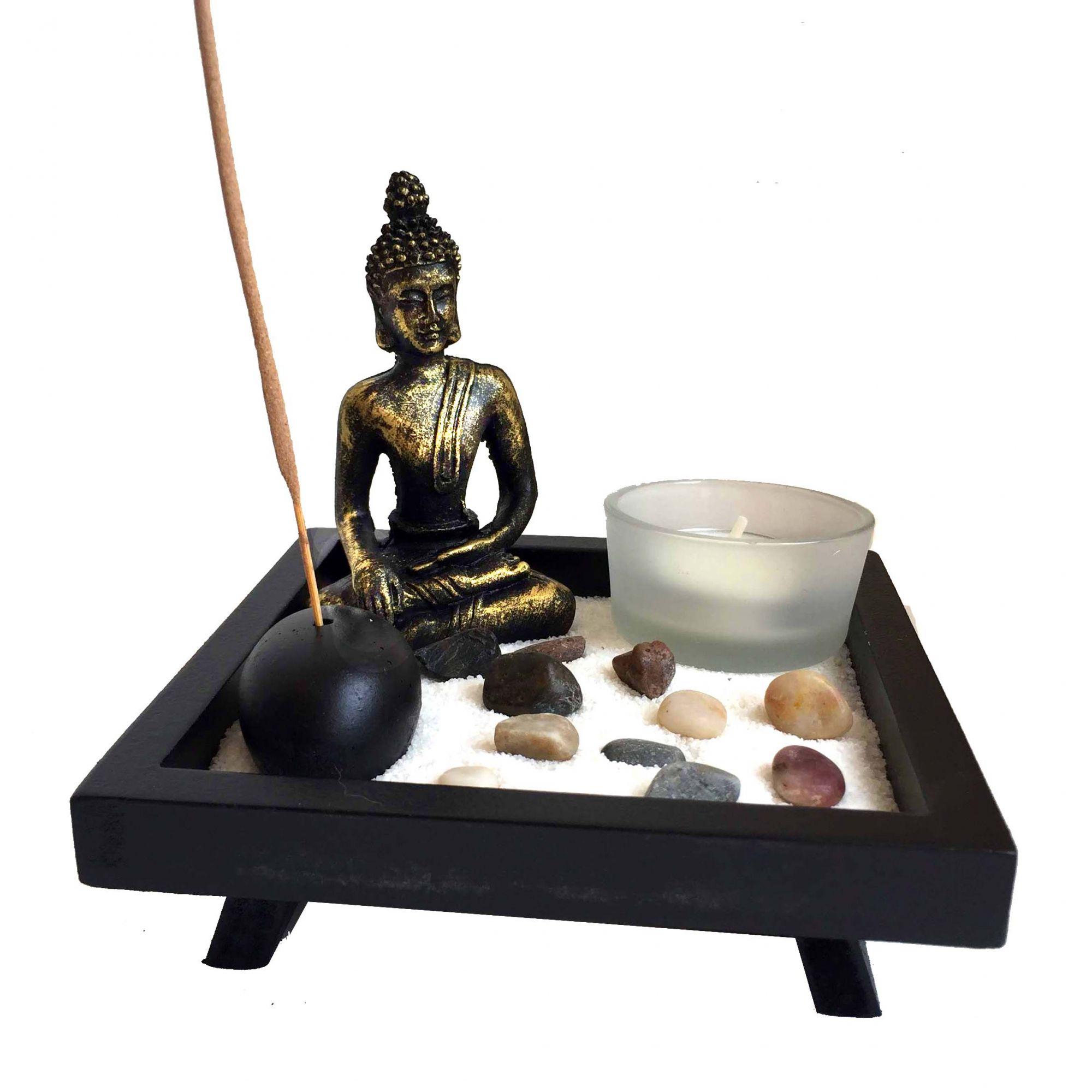 Buda Jardim Zen com Incensário e Castiçal