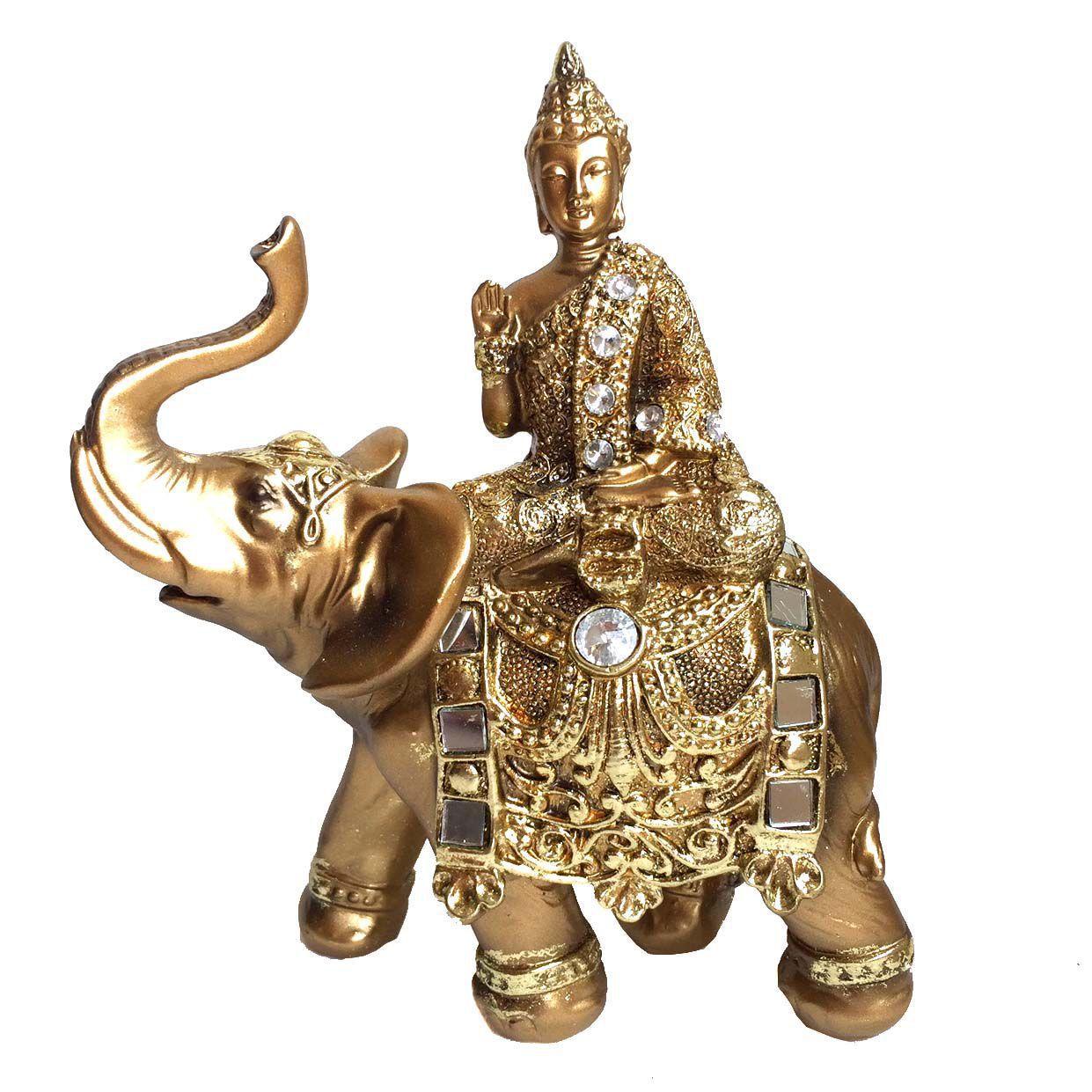 Buda Sentado no Elefante Dourado 17cm
