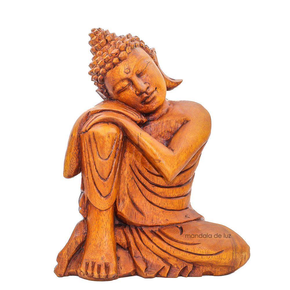 Buda Sonhador de Madeira de Bali 26cm - Frete Grátis