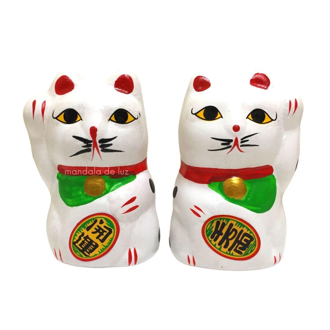 Dupla Casal Gato da Sorte - Maneki Neko 5cm