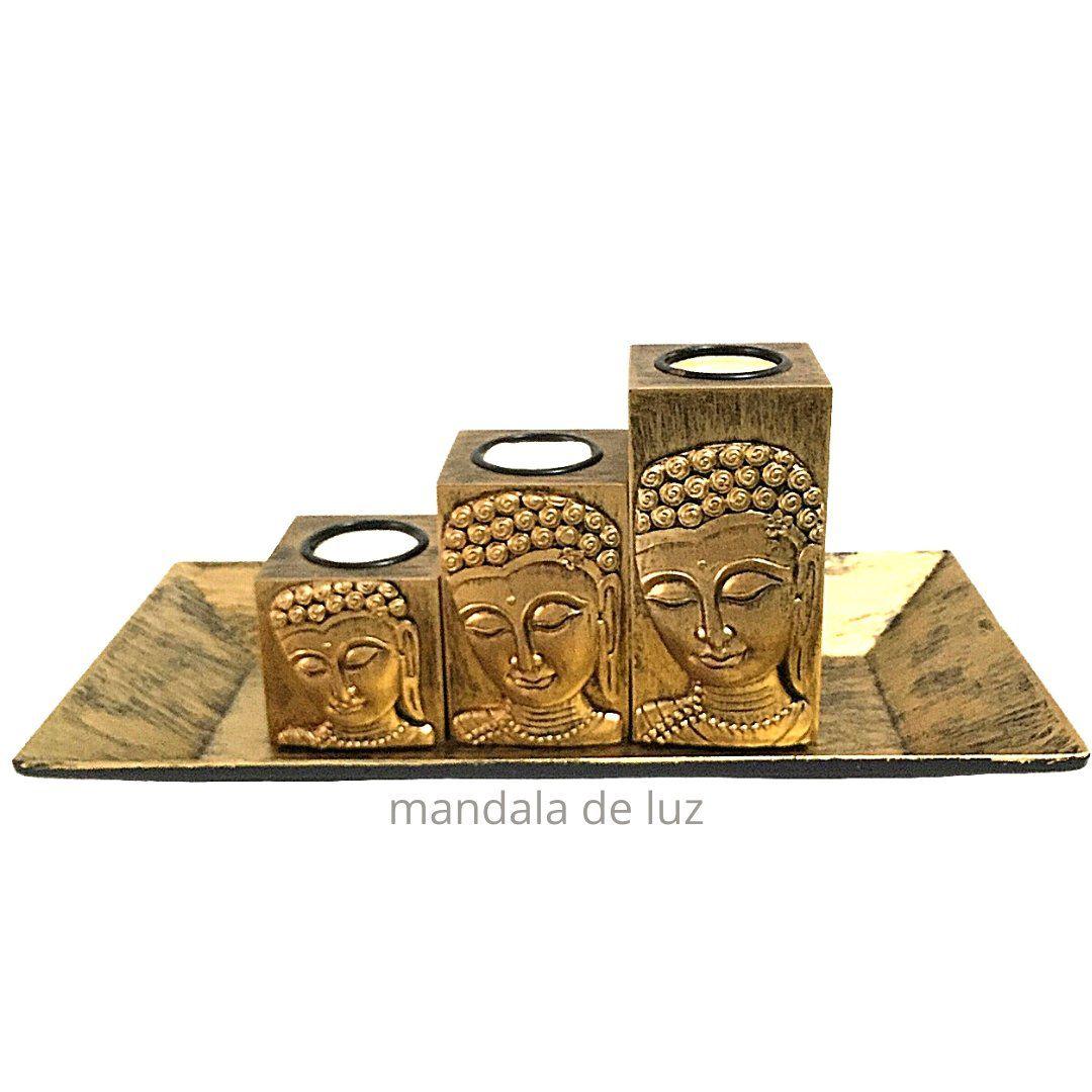 Castiçal 3 Peças Face de Buda Dourado 12cm