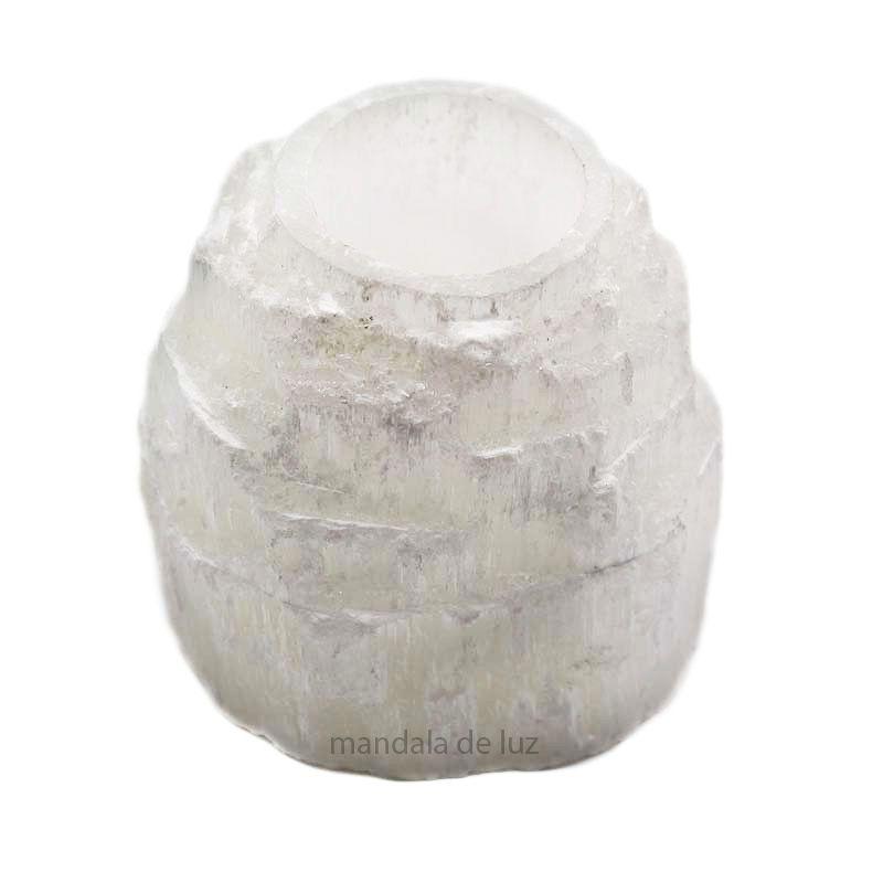 Castiçal de Pedra Selenita Natural