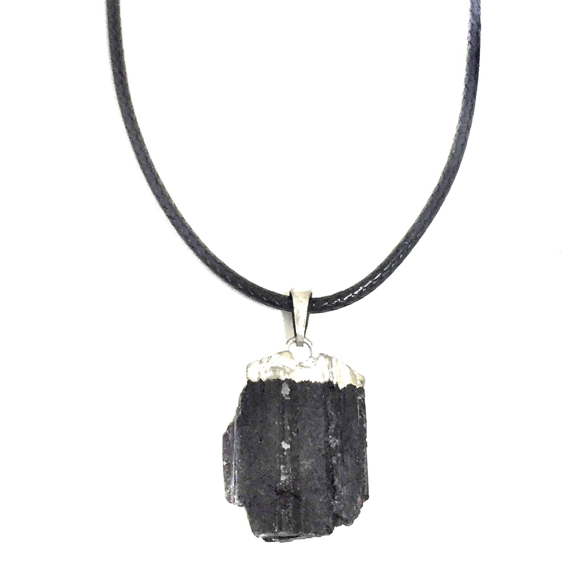 Colar Cordão Preto Pedra Turmalina Negra Bruta