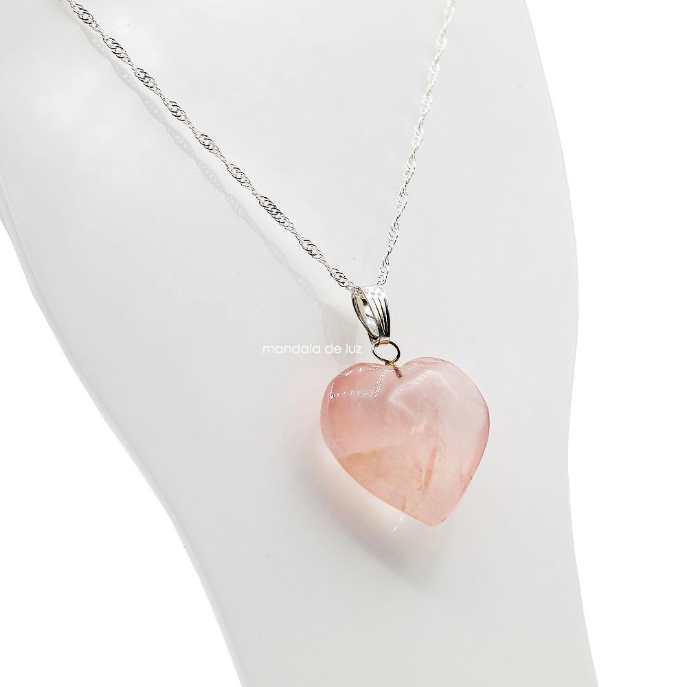 Colar de Coração de Quartzo Rosa Natural Folheado a Prata