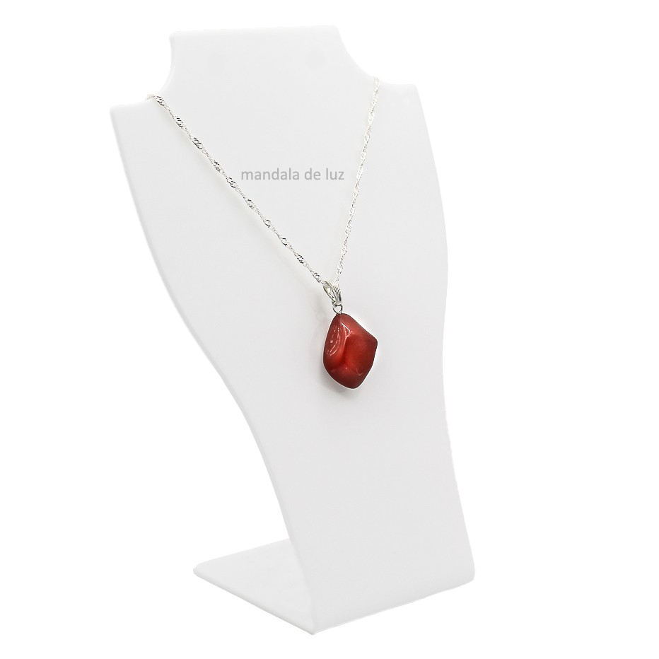 Colar de Jaspe Vermelho Pedra Natural Folheado a Prata