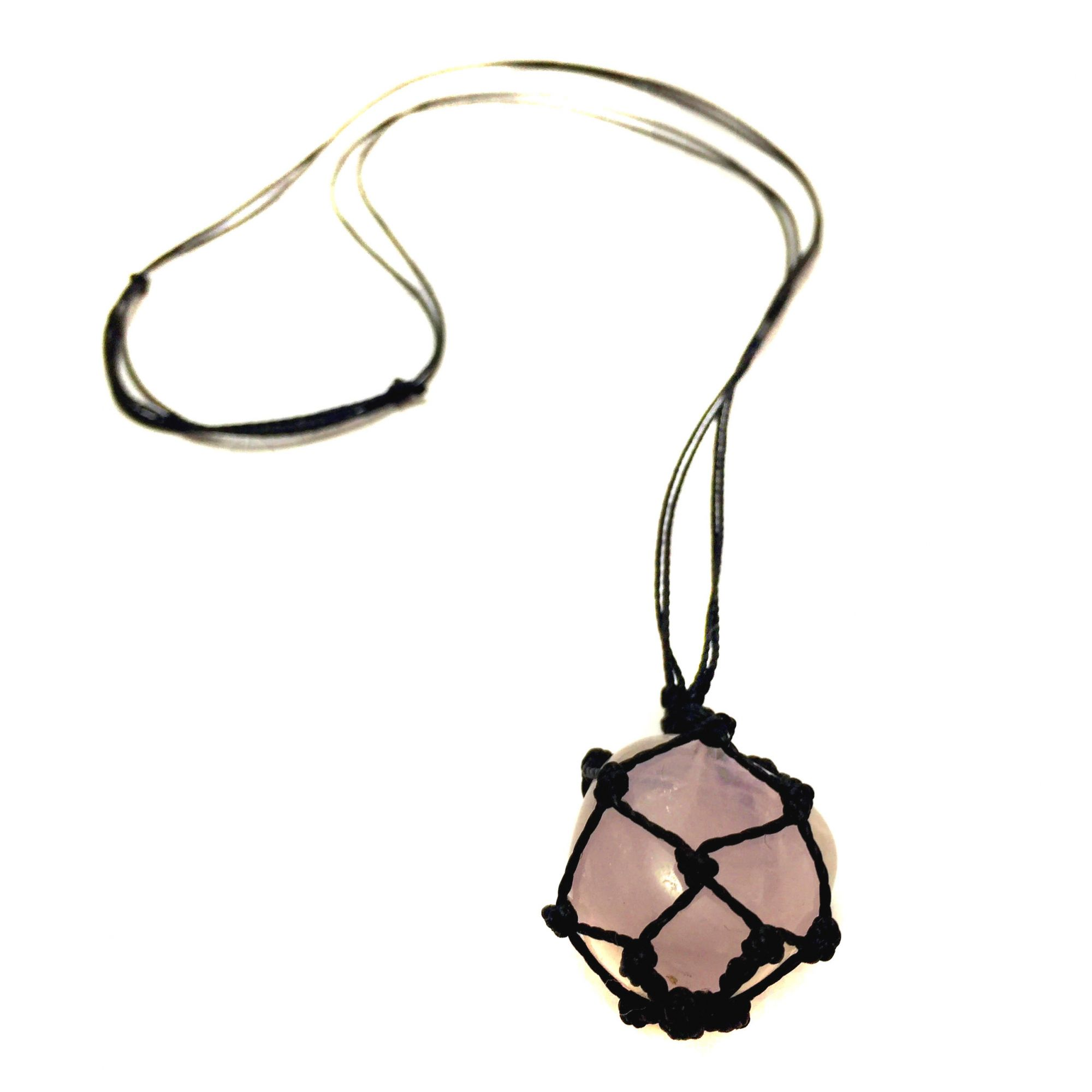 Colar de Pedra Castroada Quartzo Rosa Natural