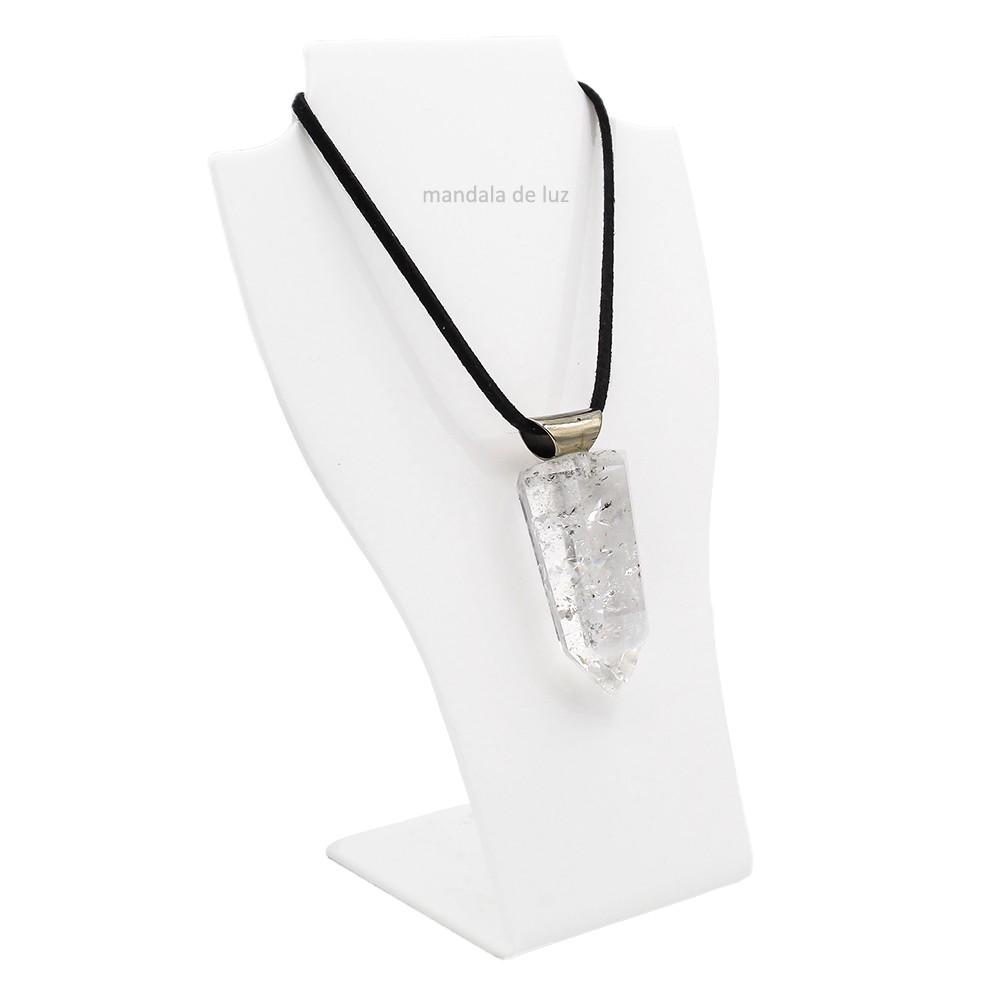 Colar de Ponta Polida de Cristal Quartzo Transparente Natural
