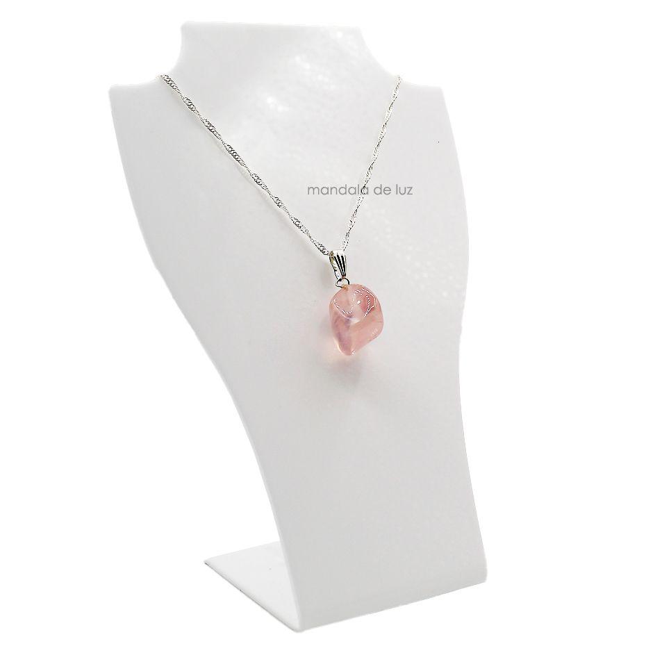 Colar de Quartzo Rosa pedra Natural Folheado a Prata