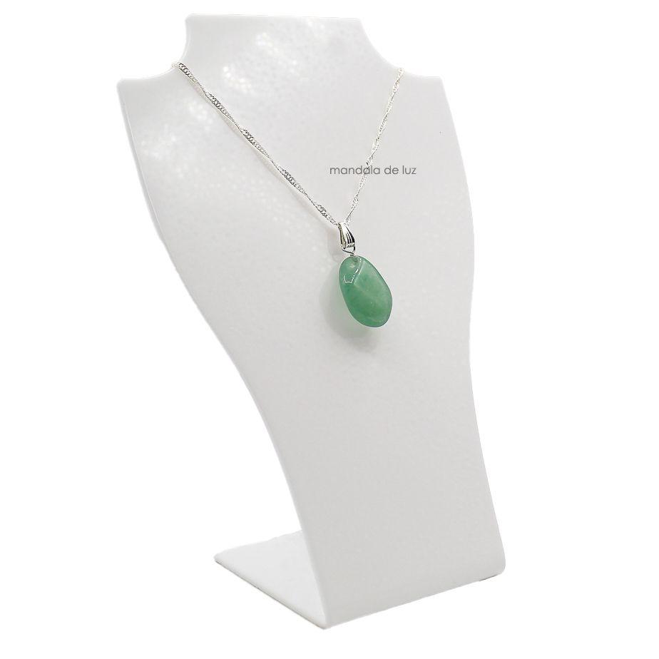 Colar de Quartzo Verde Pedra Natural Folheado a Prata