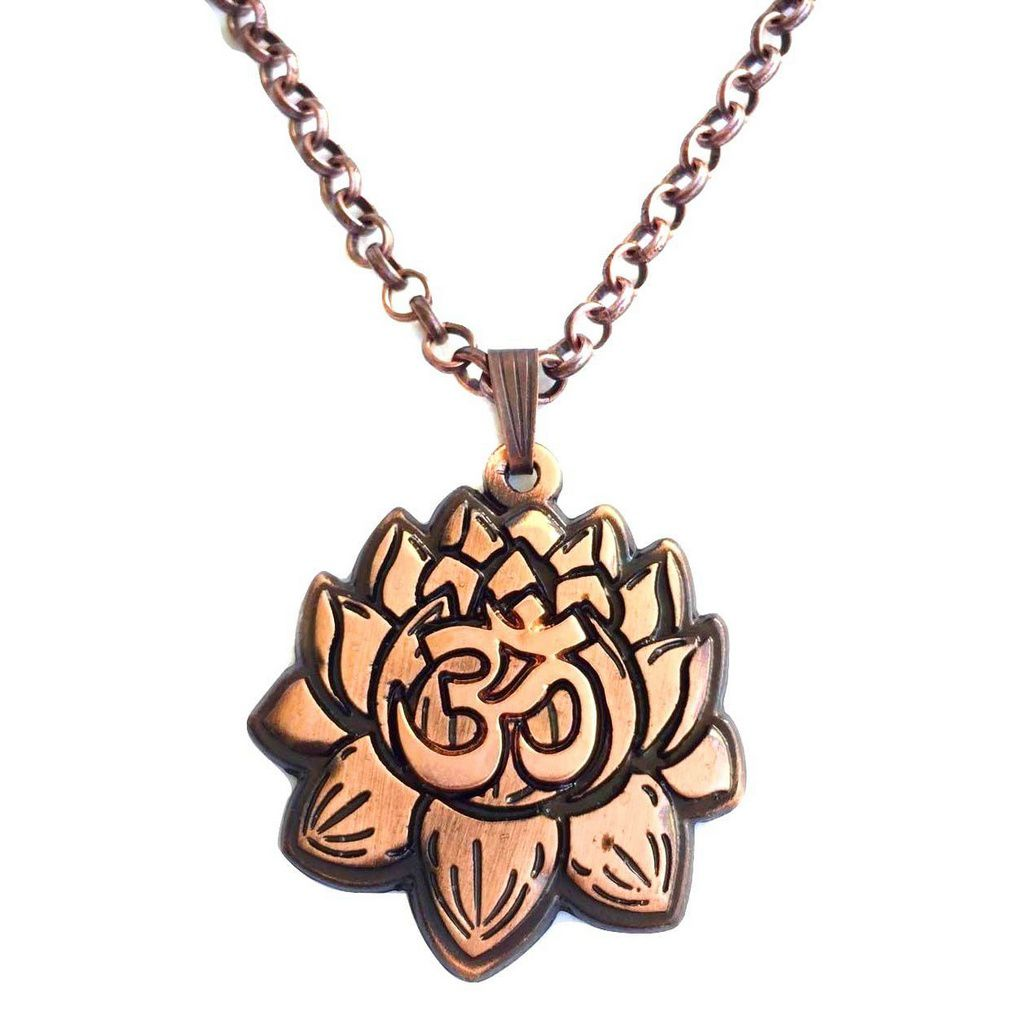 Colar Flor de Lotus e Símbolo OM
