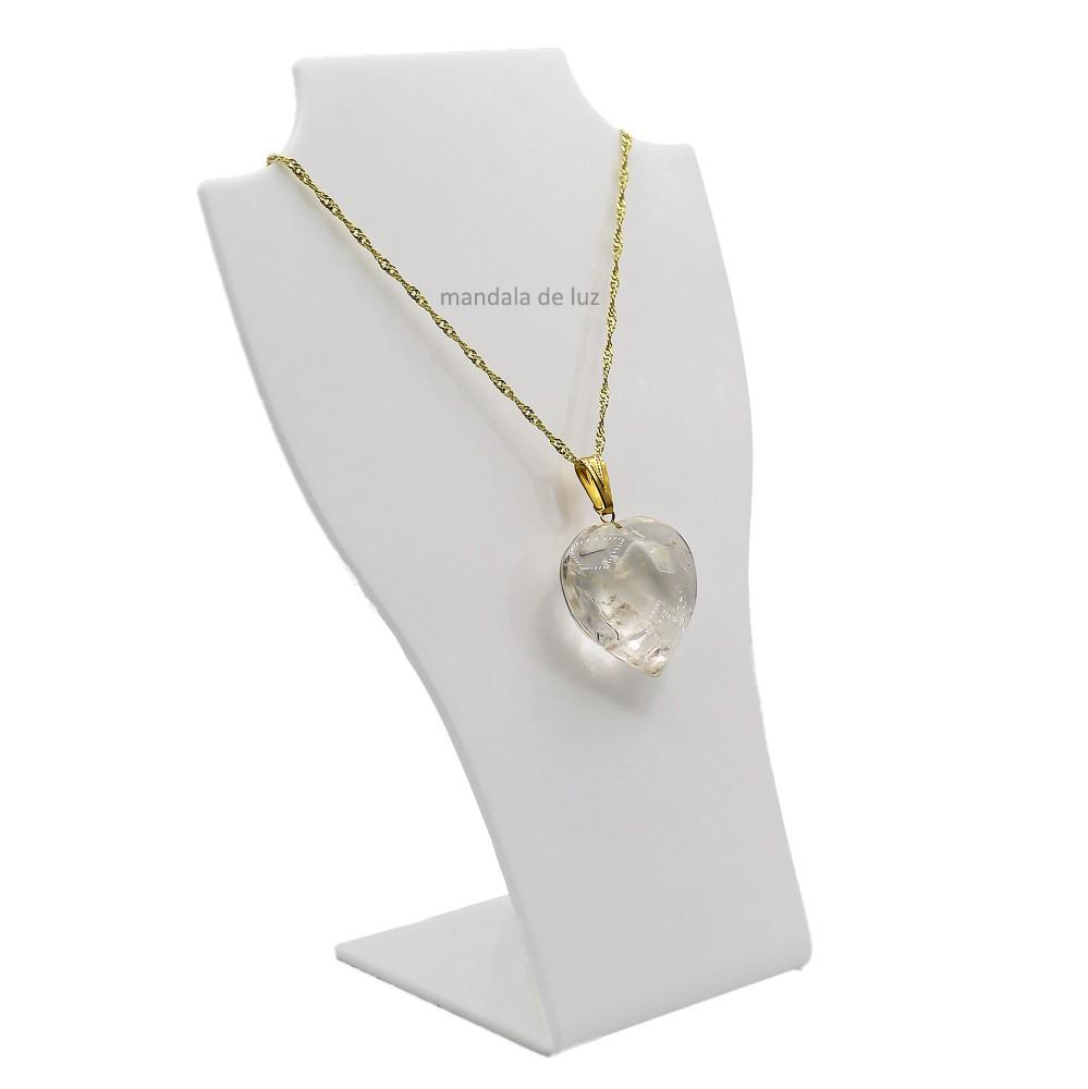 Colar Folheado Ouro Coração Cristal Quartzo Transparente