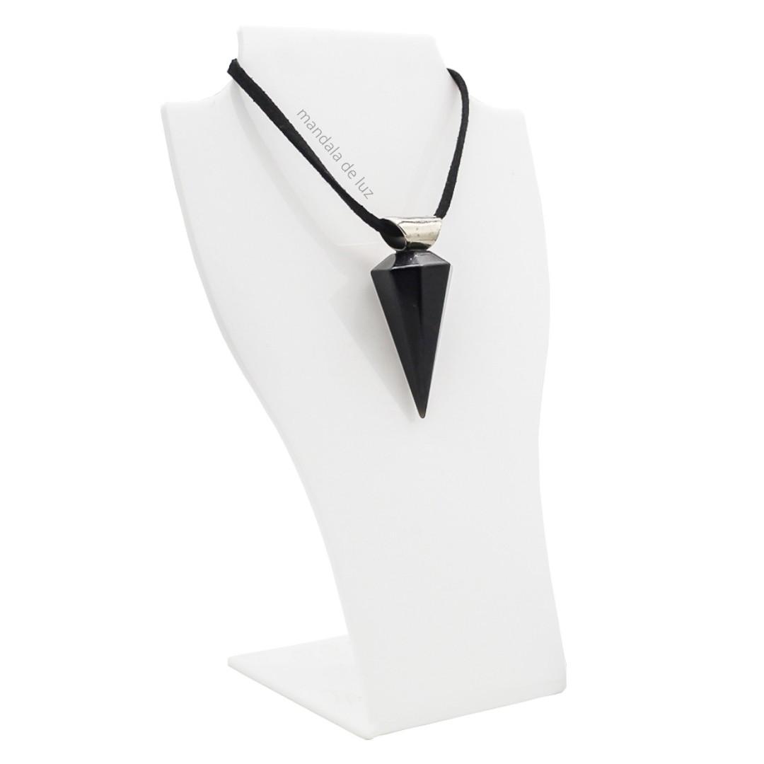 Colar Pêndulo de Cristal Obsidiana Negra Natural