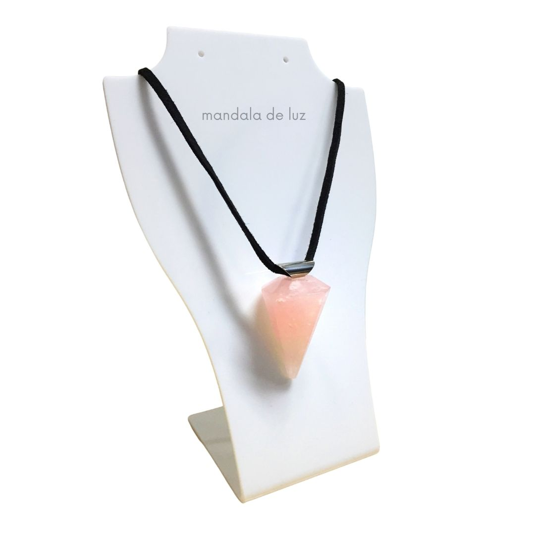 Colar Pêndulo de Cristal Quartzo Rosa Pedra Natural