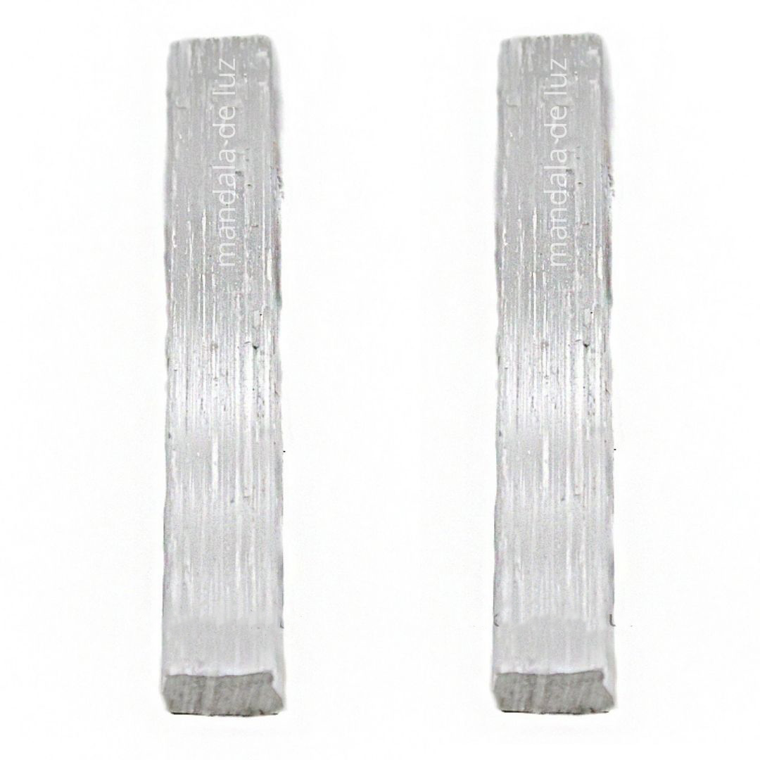 Combo 2 Bastões de Selenita Pedra Cristal Natural 10cm