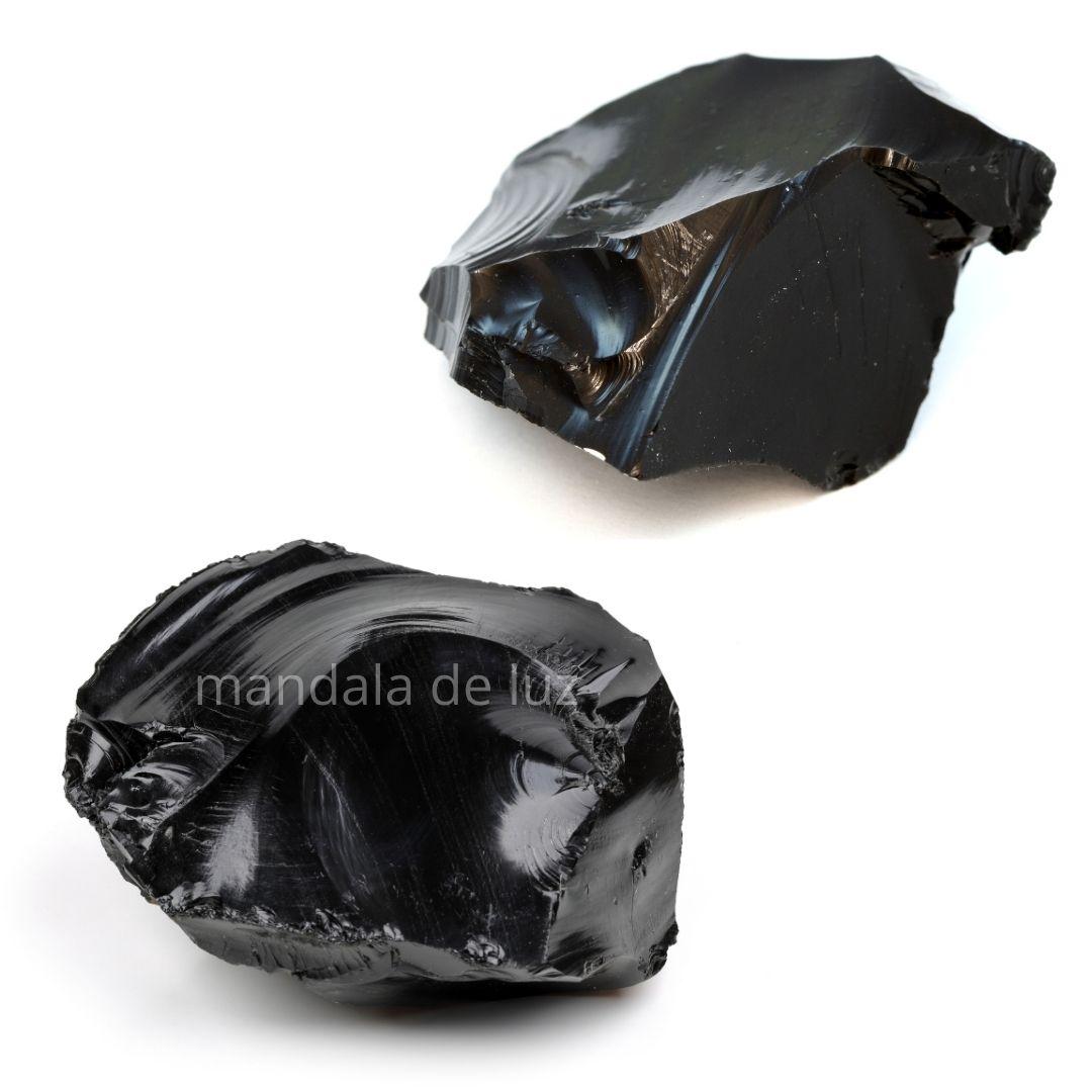 Combo 2 Pedras de Obsidiana Negra Bruta Cristal Natural