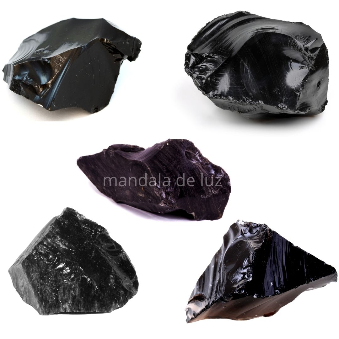 Combo 5 Pedras de Obsidiana Negra Bruta Cristal Natural
