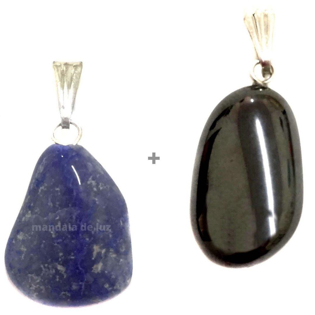 Combo de Pingentes Quartzo Azul + Hematita