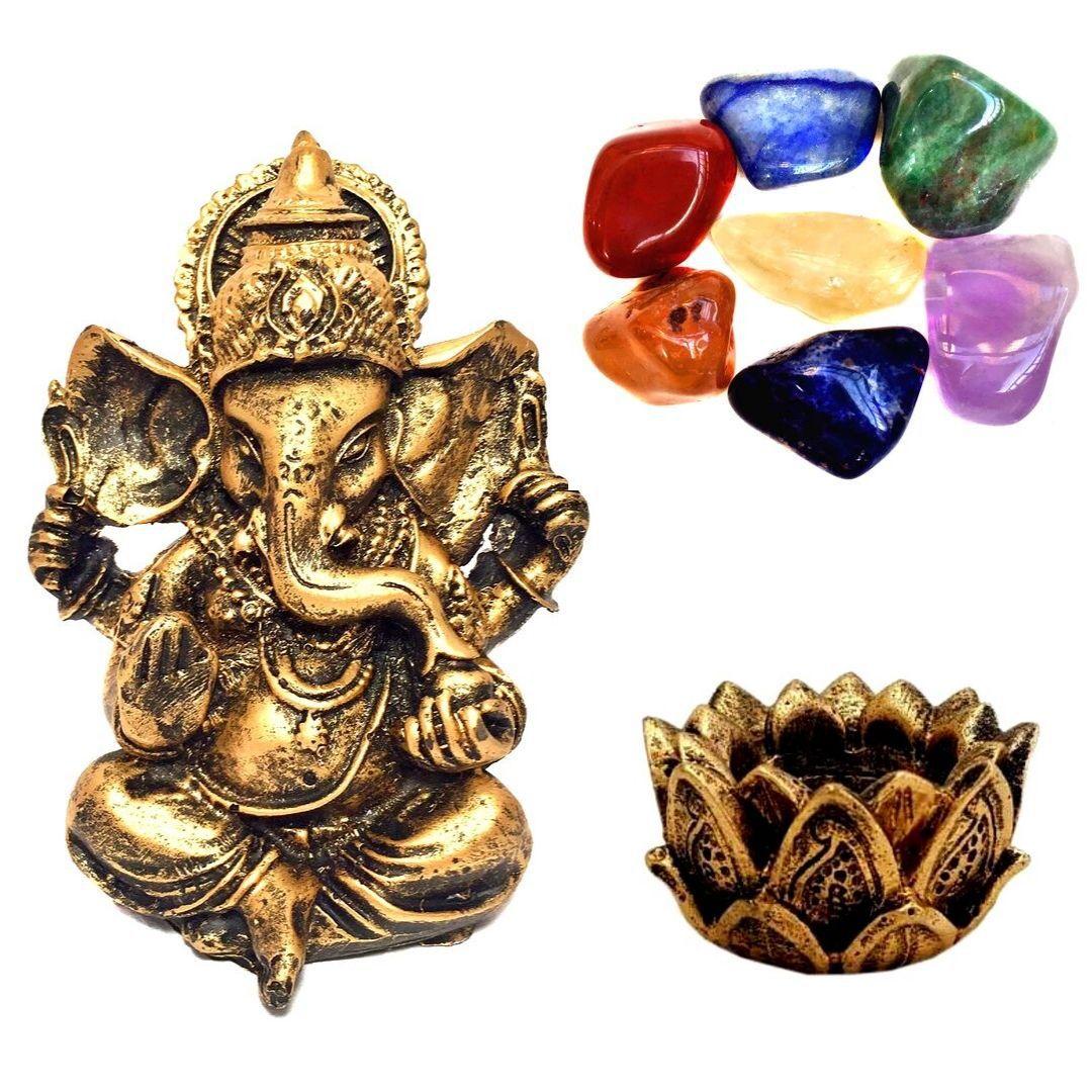 Combo Estátua de Ganesha + Castiçal + Pedras dos Chakras