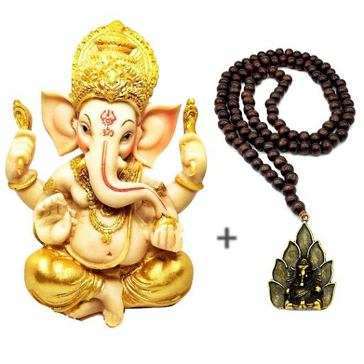 Combo Estátua de Ganesha Colorido e Japamala de Ganesha