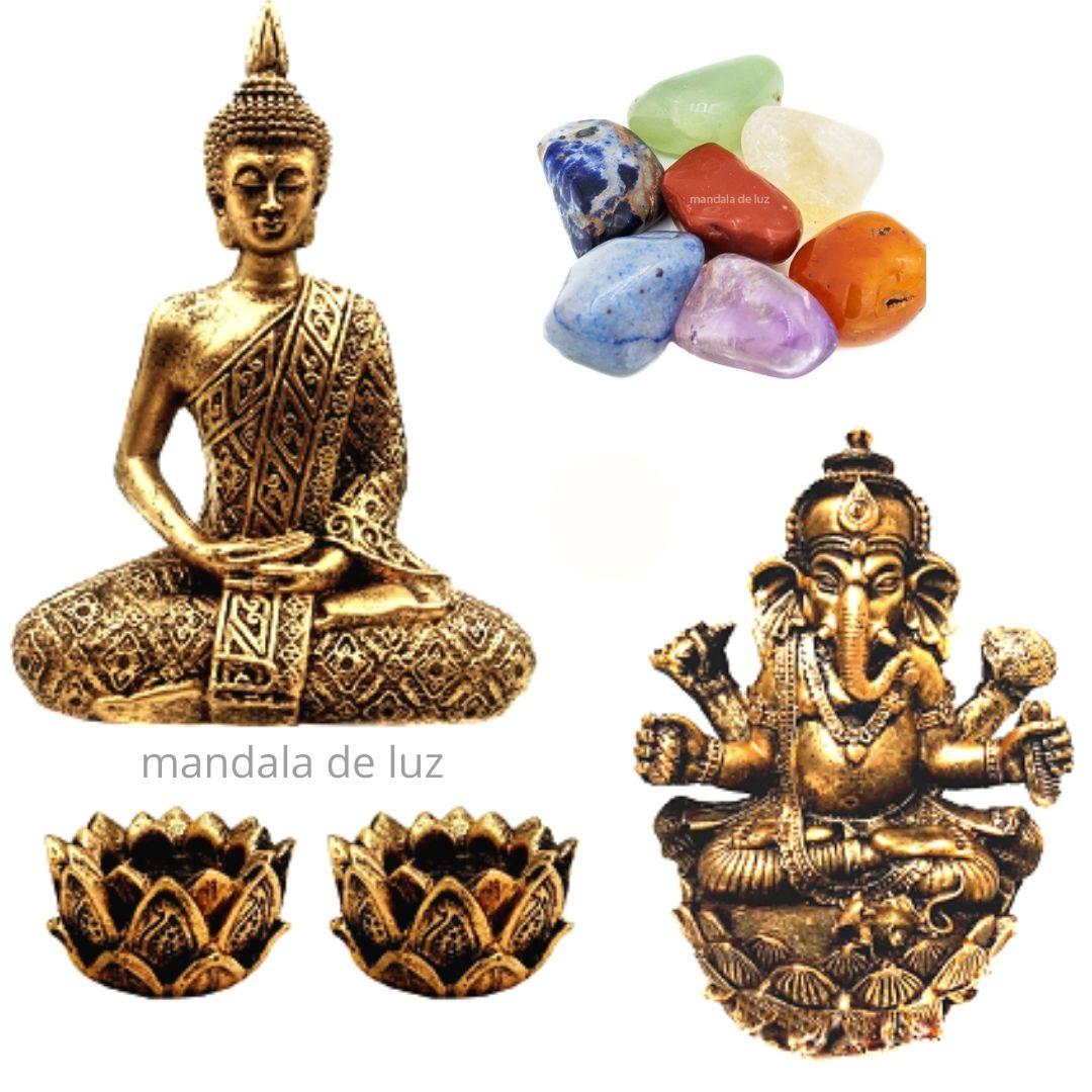 Combo Estátuas de Ganesha e Buda + Kit 7 Pedras dos Chakras + 2 Castiçais